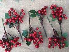 Bacche rosse artificiali Holly per Natale CORONA rendendo Confezione da 100 a casa Crafts