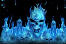"5.75"" Blue flaming skull vinyl sticker decal motorcycle guitar helmet custom"