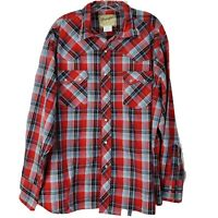 VTG Wrangler Pearl Snap Shirt Mens XXL 2X LS Western Button Down Red Plaid EUC