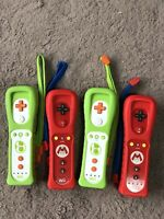 Lot Of 4 NINTENDO WII REMOTE MOTION PLUS MARIO AND YOSHI CONTROLLERS ALL WORKED