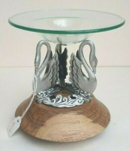 NEW SILVER METAL PEWTER 3 SWANS NATURAL OAK WOOD STAND GLASS DISH CANDLE HOLDER