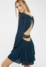 NEW Free People Endless Summer teal blue Backless Double Ruffle Swingy Dress S
