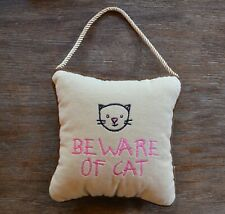 Leyla's Pillows by Eastern Accents Beware of Cat Velvet Hanging Pillow