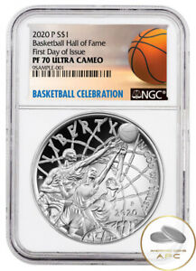 2020 P Basketball Hall of Fame Early Release NGC PF70 Ultra Cameo Silver Dollar
