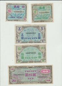 JAPAN  FIVE  NOTES  MILITARY  WW11