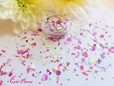UNGHIE BIANCO ROSA OLOGRAFICA * UNICORN * MYLER Flake MIX taglio POT Spangle Glitter