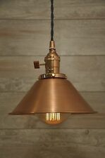 Brushed Copper Spun Cone Industrial Pendant Light Fixture Rustic Vintage Retro