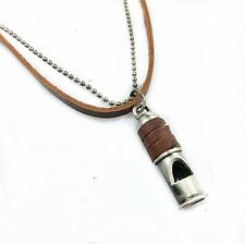"""NEW Leather Men's Brushed Metal Whistle Pendant Surfer Necklace Choker Chain 19"""""""