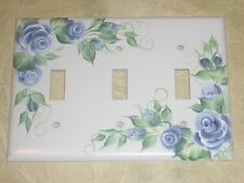 *hp Chic Shabby BLUE ROSE Triple switch plate cover