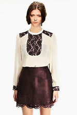 New Womens Long Sleeve Lace Shirt High Neck Blouse Top