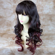 Wiwigs Beautiful Long Layered Burgundy & Brown Mix Curly Ladies Wig