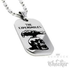 Edelstahl Herren DogTag The Expendables Anhänger silber Totenkopf Rabe Actonheld