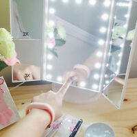 21 LED Lighted Touch Screen Makeup Mirror Tabletop Cosmetic Vanity Tri-fold Hot