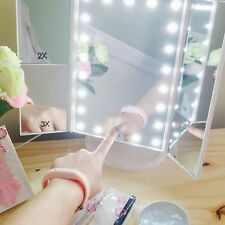 LED Lighted Touch Screen Trifold Makeup Mirror Tabletop Cosmetic Vanity Tri-Fold