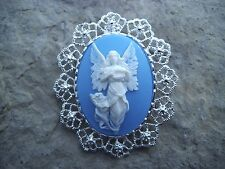 2 IN 1 GUARDIAN ANGEL ON BLUE CAMEO BROOCH/PIN/PENDANT - CHRISTMAS, HOLIDAY