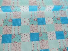 New Checked Patchwork Material Craft PolyCotton Fabric Sewing BLUE Reduced Price