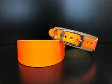Small-Medium Leather Whippet collier de chien lévrier Orange Fluorescent U.K. Made