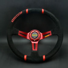 350mm Suede Leather Deep Dish Drifting Steering Wheel MOMO OMP Race Red Stand B