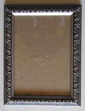Bilderrahmen mit Glas 16,5x21,5 cm schwarz mit silber Muster Fotorahmen