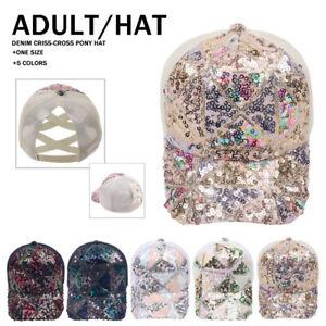 Women Girl Party Sequins Baseball Cap Sparkly Bling Glitter Snapback Hat Sun Cap