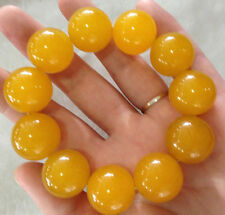 Certification of 100% natural jade yellow agate bead bracelet 20 mm