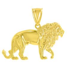 14K Yellow Gold Lion Charm Leo Zodiac Sign Charm Pendant with High Polish