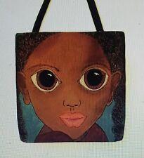 ADORABLE girl black BIG Eyes Margaret Keane inspired artist tote purse 16 x 16