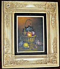 "BEAUTIFUL VINTAGE ""STILL LIFE"" OIL PAINTING IN ORNATE WOOD FRAME!11"" X 10"""