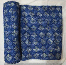New Indian Cotton Hand Block Print Kantha Quilt Twin Bedding Bedspread Coverlet