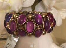 Nordstrom Sequin Nyc Shades Of Purple Acrylic Beaded Stretch Bracelet-Nwt!