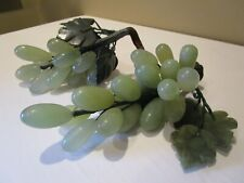 Vintage Stone Grape Clusters Jade Green Stone Carved Leaves 2 Clusters