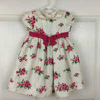 Gymboree Cream Pink Roses Velvet Bow Spring Easter Dress - Girls 12-18 Mo - EUC!