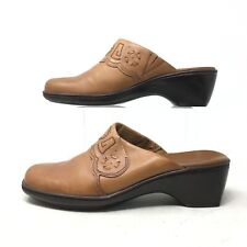 Clarks Slip On Low Heel Mules Casual Shoes Square Toe Leather Brown Womens 8 M