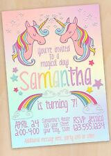 Unicorn and Rainbows Birthday Party Invitation Digital File Free Shipping