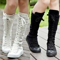 Women Girl Shoes Canvas Boots Zip Lace Up Knee High Sneaker  Economic Size35-40