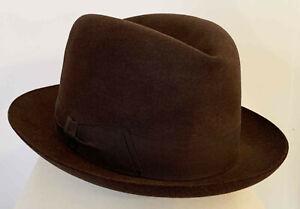 Chapeau Mossant feutre marron vers 1938 état neuf