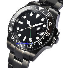 40mm Sapphire Glass Ceramic Bezel Men Parnis Black Automatic Movement GMT Watch