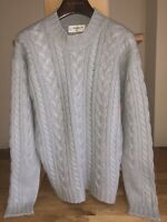 Johnstons Of Elgin CHUNKY Few Ply CABLE KNIT 100% CASHMERE SWEATER Immaculate