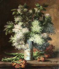 MARIE KOCH (c. 1850-1890) LARGE SIGNED FRENCH OIL ON CANVAS - FLOWERS IN VASE