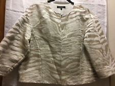 New Lafayette 148 Skirt Suit Size M Jacket/8 Skirt Ivory Khaki MSRP $548