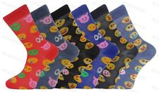 6 Pairs Mens Emoji Character Socks Emotions Smiley Faces Adults Novelty 6-11