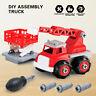 Assembled DIY Toys Fire Rescue Ladder Truck & Military Rocket Launches Radar Car
