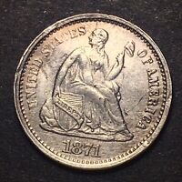 1871 S Seated Liberty Silver Half Dime Rare Date S Above Bow High Grade Details