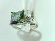 10K YELLOW GOLD 4CT PRINCESS MYSTIC FIRE TOPAZ With DIAMOND ACCENT RING SZ. 8