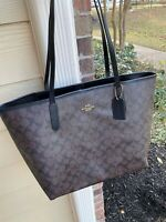 NWT COACH CITY TOTE SIGNATURE LEATHER CANVAS BROWN/BLACK 5696
