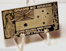 AUSTRALIA ~ NATIONAL FLAG ~ 20 GRAM ~ FROSTED / PROOF LIKE ~ SILVER MINT ART BAR