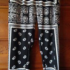 Winita XXL Pants Wide Paisley Lounge Cuffs Pockets Black White PJs Pajama    2B