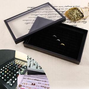 100 Fächer schwarz Schmuckkasten Ringdisplay Schmucklade Schmuckständer Ringbox