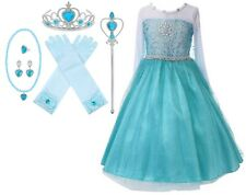 Snow Queen Long Sleeve Princess Elsa Frozen Costume Halloween Party Girls Dress