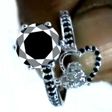 White Natural Diamond .925 Silver Ring 3.52ct Aaa Black Moissanite Round Cut &